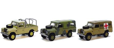 Conjunto de 3 Land Rover Serie III, 109, 1:72,Cararama
