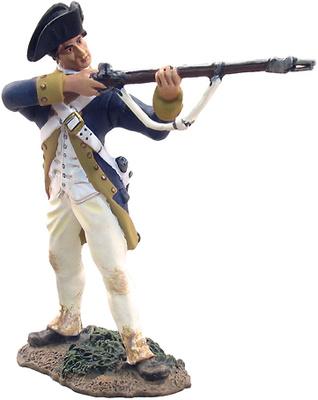 Continental Line NY/NJ, soldado disparando, 1:32, William Britains