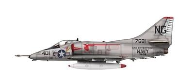 "Douglas A-4C Skyhawk 147681, VA-94 ""Shrikes"", USS Enterprise, 1960s, 1:72, Hobby Master"