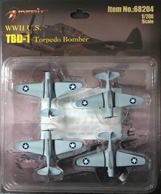 Douglas TBD-1 Devastator, Avión Torpedo, (4 unidades), 1:200, Merit