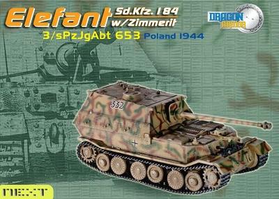 Elefant #332, Sd. Kfz. 184, 3./sPzJgAbt 653, Zimmerit, Polonia, 1944, 1:72, Dragon Armor
