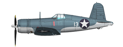 F4U-1 Corsair No. 13, Lt Kenneth Walsh, VMF-124  Munda, 1943, 1:48, Hobby Master