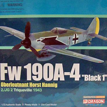 "FW 190a-4 ""black 1"" Oberleutnant Horst Hannig, Triqueville, 1943, 1:72, Dragon Warbirds"