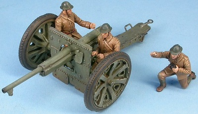 French anti-tank gun 75 mm Schneider with crew, France 1940, 1:48, Gasoline
