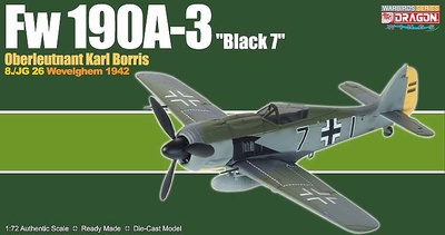 "Fw190A-3 ""Black 7"", Staffelkapitan 8./JG 26, Wevelghem, Marzo, 1942, 1:72, Dragon Warbirds"