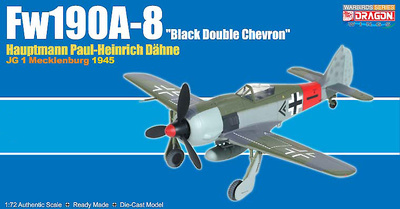 "Fw190A-8 ""Black Double Chevron, Paul-Heinrich Dahne, JG 1, 1945, 1:72, Dragon Warbirds"