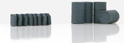 German Fuel Drums and Jerry Cans, (grey), 1:72, Hobby Master