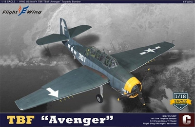 Grumman TBF Avenger, White 301, USS Bunker Hill, hundimiento del Yamato, 1945, 1:18, Flight Wing
