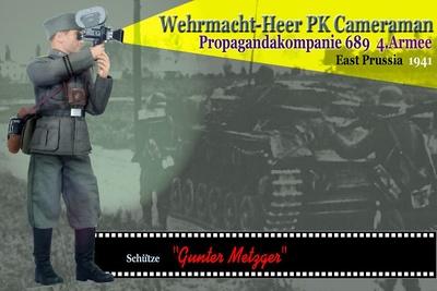 """Gunter Metzger"", Wehrmacht-Heer PK Cameraman, Propagandakompanie 689, 4º Ejército, Este de Prusia, 1941, 1/6, Dragon Figures"