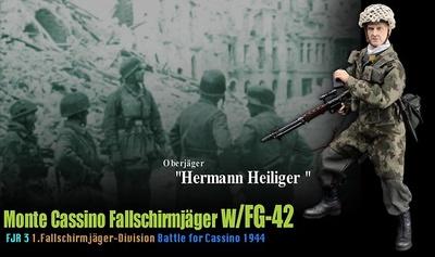 """Hermann Heiliger"", (Oberjäger) Monte Casino Fallschirmjäger w/FG-42, FJR 3, 1ºDivisión paracaidísta, 1944, 1:6, Dragon Figures"