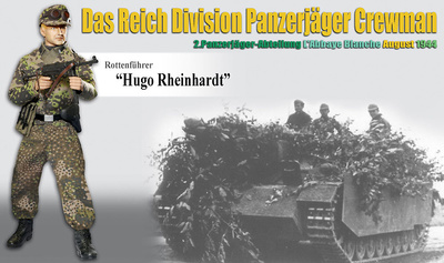 """""""Hugo Rheinhardt"""" (Rottenführer) Das Reich Division Panzerjäger Crewman, 2.Panzerjäger-Abteilung L'Abbaye Blanche, August 1944, 1:6, Dragon Figures"""