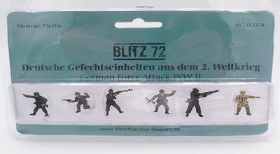 Infantería Alemana (6 figuras) en posición de ataque, 1:72, Blitz 72