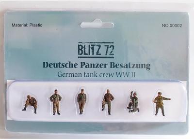 Infantería Alemana y tripulantes Panzer (6 figuras), 1:72, Blitz 72