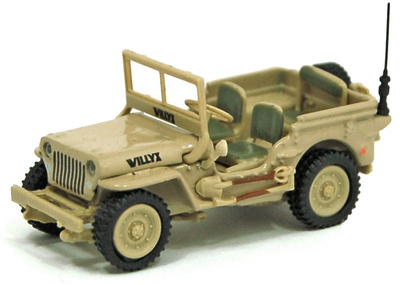 Jeep CJ-5, 1/4 ton, US Army, color desierto, 1:72, Cararama