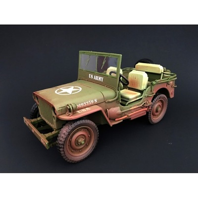 Jeep US Army, green (with marks of use), World War II, 1:18, American Diorama