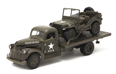 "Jeep Willys + Chevrolet Flatbed ""Hickam Airfield"", Ejército USA, 1941, 1:32, NewRay"