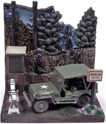 """Jeep Willys """"Checkpoint"""" con diorama, 2ª G.M., 1/64, Johnny Lightning"""