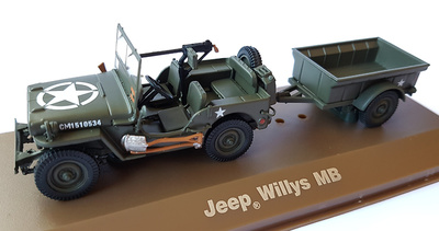 Jeep Willys MB con remolque, 1:43, Atlas