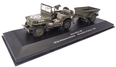 Jeep Willys MB con remolque, 101º División Aerotransportada, Normandía, 1944, 1:43, Atlas