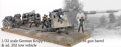 Krupp Flak 36 con cañón Flak Rohr 36 y remolque sd. 202, Estalingrado, 1943, 1:32, Forces of Valor