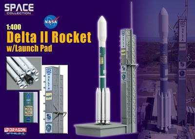 Lanzadera Delta II Rocket w/Launch Pad, 1:400, Dragon Space Collection