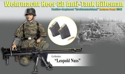 """""""Leopold Nuss"""" Gefreiter, Wehrmacht Heer GD Anti-Tank Rifleman, Regiment """"Großdeutschland"""", Frente del Este, 1942, 1:6, Dragon Figures"""