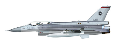 Lockheed F-16D Fighting Falcon 691, 140 Sqn., RSAF, Singapore, 1:72, Hobby Master