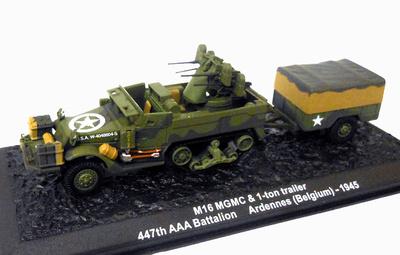 M16 MGMC con remolque 1 ton, 447th AA Battalion, Las Ardenas, 1945, 1:72, Altaya