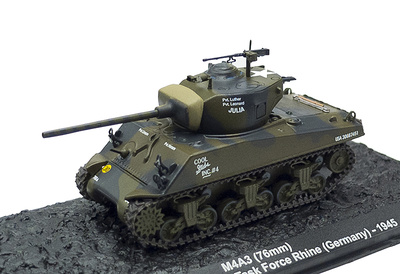 M4A3, 76 mm, Task Force Rhine, Alemania, 1945, 1:72, Altaya