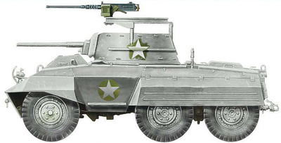 M8 Light Armored Car 3rd Army, 2nd Cavalry Company C, Belgium, 1:72, Hobby Master
