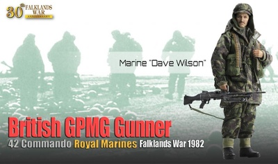 "Marine ""Dave Wilson"", British GPMG Gunner, 42 Commando, Royal Marines, Guerra Malvinas, 1982, 1:6, Dragon Figures"