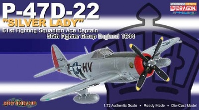 P-47D-22 Silver Lady, 61st Fighting Squadron ACE CAG, 1944, 1:72, Dragon Wings