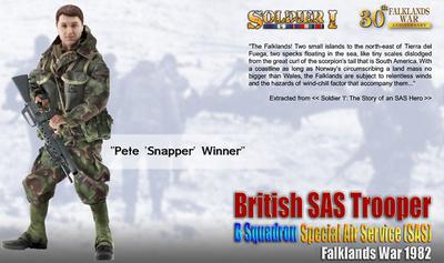 Pete 'Snapper' Winner, British SAS Trooper, B Squadron, Special Air Service (SAS),, Guerra de Las Malvinas, 1982, 1:6, Dragon Figures