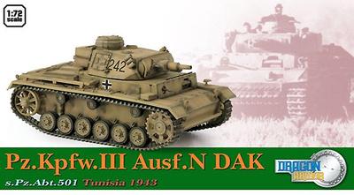 Pz.Kpfw.III Ausf.N DAK, s.Pz.Abt.501, Túnez, 1943, 1:72, Dragon Armor