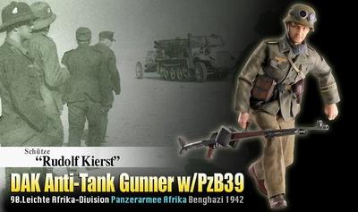 """Rudolf Kierst"", DAK Artillero Antitanques con PzB3990.Leichte Afrika-Division, Panzerarmee Afrika, Bengasi, 1942, 1:6, Dragon Figures"