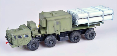 "Russian ""Bal-E"" mobile coastal defense missile luncher with Kh-35 anti-ship cruise missiles MAZ chassis early type, 1:72, Modelcollect"