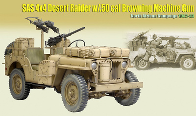 SAS 4x4 Desert Raider w/.50 cal Browning Machine Gun, North African Campaign 1942-43, 1:6, Dragon Figures