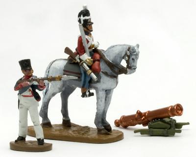 Soldado a caballo + cañón francés+ soldado a pie, 1:60, Del Prado