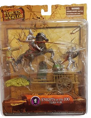 Soldado medieval a caballo, soldado medieval a pie y arquero más carro, 1:32, Forces of Valor