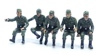 Soldados alemanes en posición de sentados, 2ª Guerra Mundial, Set B, 1:72, PMA