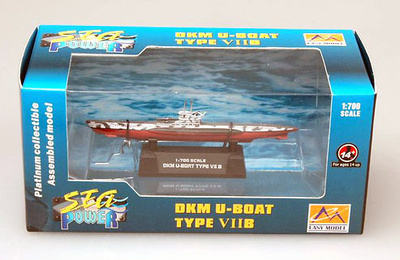 Submarino alemán U-Boot TYPE VIIB, 2ª Guerra Mundial, 1:700, Easy Model
