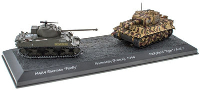 The Battle of Normandy, 1944 M4A4 Sherman Firefly + PzKpfwVI Tiger I Ausf E, 1/72, Salvat