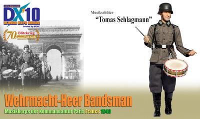 """Tomas Schlagmann"", Wehrmacht-Army Bandman, Cuerpo de música del Kommandantur, París, 1940, 1:6, Dragon Figures"