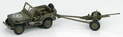 U.S. Willys Jeep with 37mm M3A1 anti-tank gun, 1:72, Hobby Master