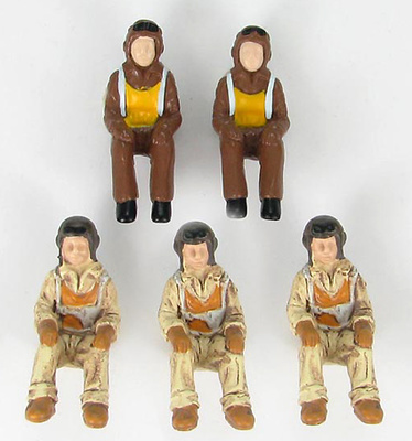 WWII US Navy and RAF Pilots  Set (2 RAF & 3 U.S.), 1:48, Hobby Master