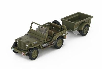 Willys Jeep con remolque, Ejército Británico, Normandía, Junio, 1944, 1:72, Hobby Master