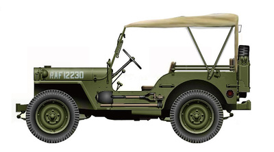 Willys MB Jeep RAF 12230, 2ª Guerra Mundial, 1:72, Hobby Master