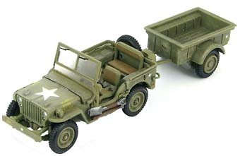 Willys MB Jeep with trailer, Iwo Jima Febrero 1945, 1:72, Hobby Master
