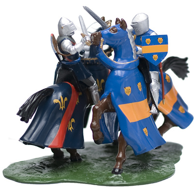 knights Dueling Mounted, 1:32, William Britains